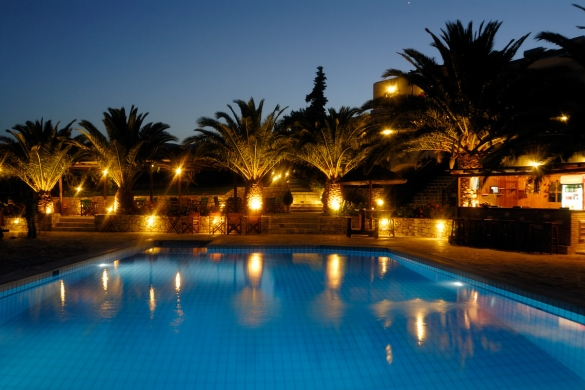 swimming pool and pool bar ,night view